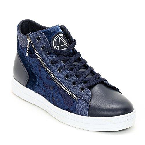 Alesya Sport Scarpe&Scarpe - Sneaker Aus Spitze mit Seitlichem Reißverschluss Blau