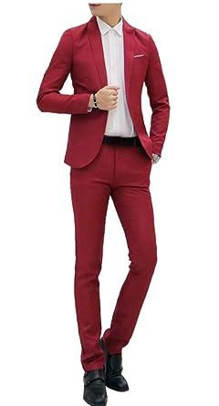BingSai - Traje - para Hombre Rojo Rojo Vino S: Amazon.es ...