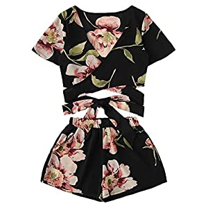 SweatyRocks Women's 2 Piece Boho Floral Print Crop Cami Top with Shorts Set
