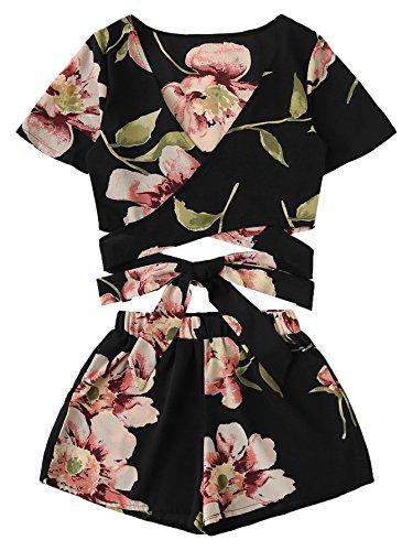 SweatyRocks Women's 2 Piece Boho Floral Print Crop Cami Top with Shorts Set Black_Flower XS