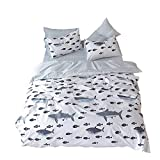 EnjoyBridal Twin Bed Kids Duvet Cover Sets Shams Animal Fish Pattern Cotton Bedding Sets Boys Girls Comforter Cover Zipper Closure 3 Pieces Quilt Cover Set (Twin, WhiteA)