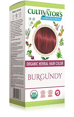 CULTIVATOR'S - Organic Herbal Hair Color - Burgundy - Herbal Blend for Hair Dye and Care - Covers White Hair - No PDD and Harmful Ingredients - USDA and Ecocert Certified - Dermatologically tested - Not Tested on Animals - 100 gr Yumi Bio Shop