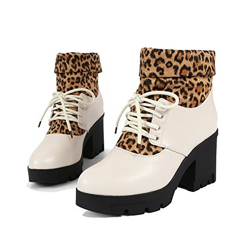 Closed Blend Lace Women's Allhqfashion Top High Beige Heels Toe up Materials Low Round Boots Hq4wI5x8w
