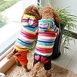 FunnyDogClothes Jumpsuit Fleece Rainbow Stripe Hoodie Coat Pants (ORANGE, M: Length – 14″ Chest – 18″)