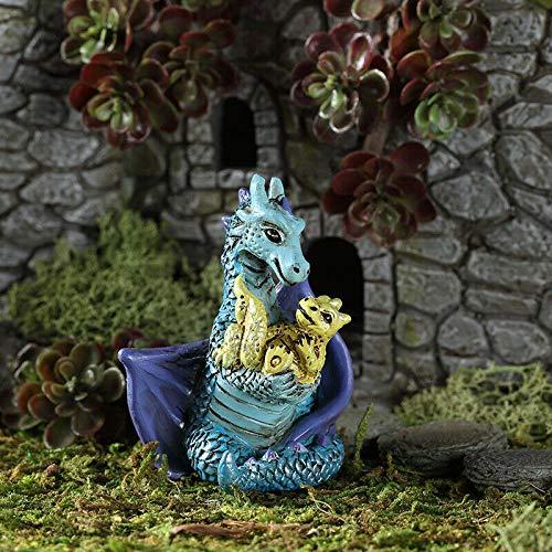Fairy Garden - Figurine - Statuette - Miniature Dollhouse - Decor - Mom and Baby Dragon
