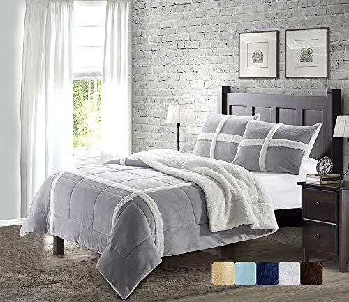 DE MOOCCI Reversible Fleece Flannel Sherpa Comforter Set Hypoallergenic Plush 3-Piece Comforter and Pillow Shams Decorative Bedding Light Grey Queen