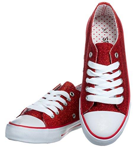 Rojo Zapatos Mujer brandsseller de con Cordones Sintético Material Ow0dSd