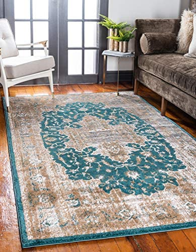 Unique Loom Aurora Collection Vintage Medallion Traditional Border Teal Area Rug 9 0 x 12 0