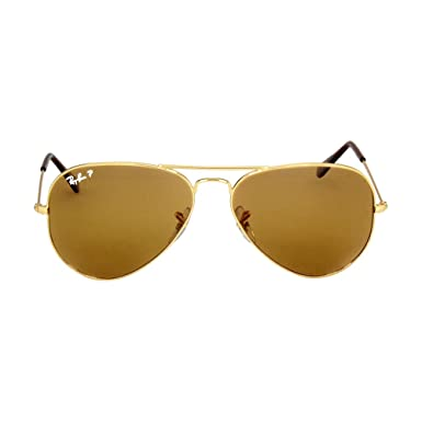 d398272ba10 Image Unavailable. Image not available for. Color  Ray-Ban Aviator 3025  Gold Frame Brown Polarized RB 3025 001 57 58mm Small