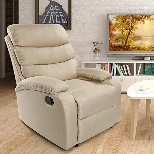 Frivity Fabric Recliner Chair, Push Back Adjustable Single Recliner Sofa for Living Room Padded Seat Backrest Recliner Modern Recliner Seat Club Chair Home Theater Seating Gream