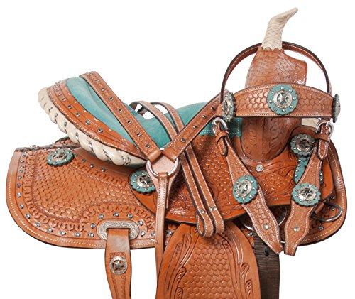 "10"" 12"" 13"" YOUTH KIDS TURQUOISE BARREL RACING WESTERN QUARTER HORSE SADDLE TACK SET BEAUTIFUL CHESTNUT COWHIDE LEATHER (12) -"