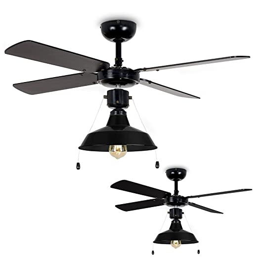 Minisun 4296cm industrial style black metal 4 x blade ceiling fan minisun 42quot96cm industrial style black metal 4 x blade ceiling fan with pull aloadofball Images