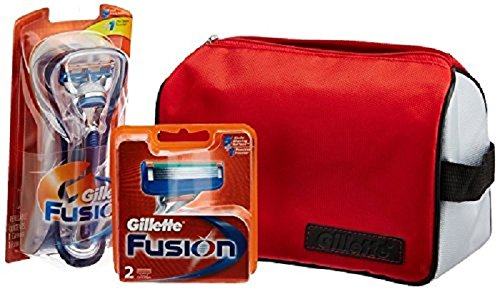 Gillette Limited edition Travel pack Fusion Razor + 2 cartridges + Gillette Kit Bag 12345