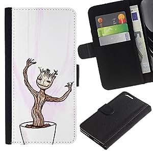 KLONGSHOP // Tirón de la caja Cartera de cuero con ranuras para tarjetas - Feliz Divertido Bonsai - Apple Iphone 6 PLUS 5.5 //