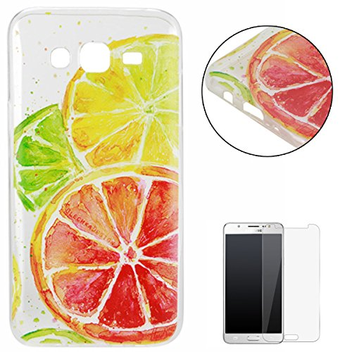 Cherry Jells - Silicone Gel TPU Case CasesHome Ultra Slim soft Rubber Protective Case Shockproof Cover Skin Shell for Samsung Galaxy J5 2016 Version/J510FN + Free Screen Protector-Lemon
