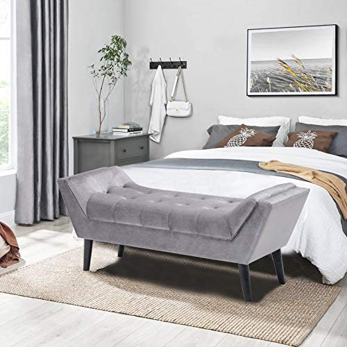 Andeworld Gray Fabric Bed Bench Upholstered Tufted Footstool Entryway Ottoman Bench Two Seaters