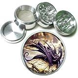 """63mm 2.5"""" 4 Pc Aluminum Sifter Magnetic Herb Grinder Dragons Design-007"""