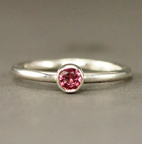Choice Stack Ring - Pink Tourmaline Stack Ring - October Birthstone Ring - Custom Plain or Pattern Band Choices