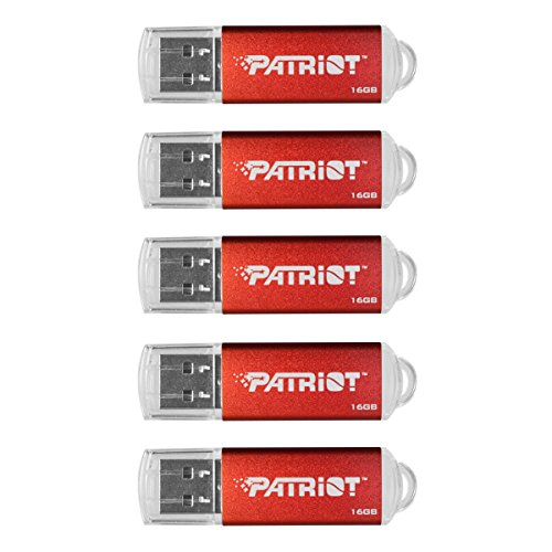 Patriot Memory 16GB Pulse Series USB 2.0 Flash Drive, 5 Pack, Red (PSF16GXPPR5PK)