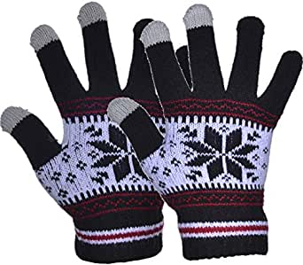 Outrip Women's Winter Wool Knitted Gloves Girls Warm