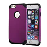 iPhone 6S Plus Case, Pandawell™ Slim Hybrid Dual Layer Shockproof Silicone Case Cover for Apple iPhone 6S Plus & iPhone 6 Plus 5.5 inch with Screen Protector & Stylus (Purple/Black)
