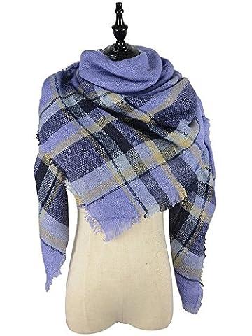 Ladies Tartan Blanket Colorful Soft Scarf Warm Plaid Lovely Shawl with Tassel Scottish Wrap for Winter - Yarn Fuchsia Plum