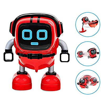 AHIROT Novelty Game Toy Spinning Top Robot Battle Gyro Pull Back Car Spinning in Wind Up Gyro Toy for Kids Boys Girls Gifts