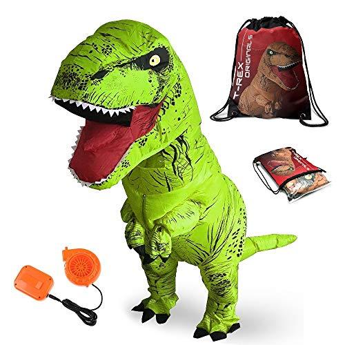 T-Rex Originals T-Rex Costume Inflatable Dinosaur Suit Halloween Adult Inflatable Costume (Green)