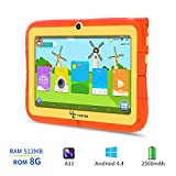 Yuntab Kids Tablet Q88R 7 Inch Allwinner A33,1.5Ghz Quad Core Android 4.4 Tablet PC,512MB+8GB,HD 1024x600,Dual Camera,WiFi,Bluetooth,3D Game,TF Card,Support Parental Control Software - iWawa(Orange)
