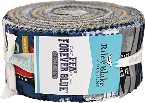 FFA Forever Blue Rolie Polie 40 2.5-inch Strips Jelly Roll Riley Blake Designs RP-7210-40 by Riley Blake Designs