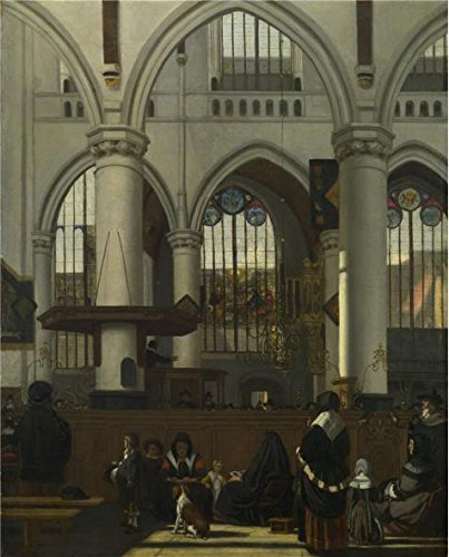 - 'Emanuel De Witte - The Interior Of The Oude Kerk, Amsterdam,about 1660' Oil Painting, 24x30 Inch / 61x76 Cm ,printed On Polyster Canvas ,this Vivid Art Decorative Canvas Prints Is Perfectly Suitalbe For Gift For Bf And Gf And Home Gallery Art And Gifts