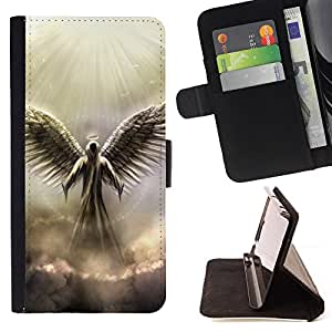 For HTC One M7 Angel God Heaven Clouds Light Wings Art Style PU Leather Case Wallet Flip Stand Flap Closure Cover
