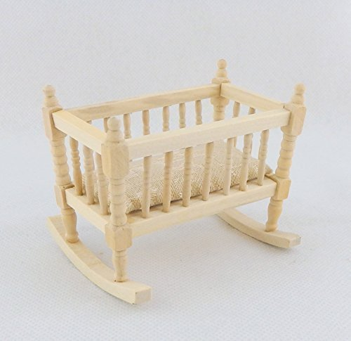 Melody Jane Dolls Houses House Miniature Unfinished Nursery Furniture Bare Wood Rocking Cradle Cot