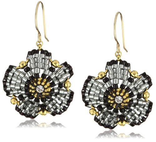 Miguel Ases Swarovski and Jet Beaded Flower Earrings - Miguel Ases Beaded Earrings