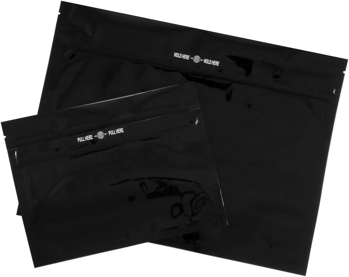 100 pcs Black Child Resistant Smell Proof Ziplock Pouch Bag and Exit Bag
