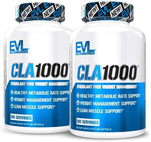 Evlution Nutrition CLA 1000, Conjugated Linoleic Acid, Weight Loss Supplement, Metabolism Support, Stimulant-Free 360 Servings