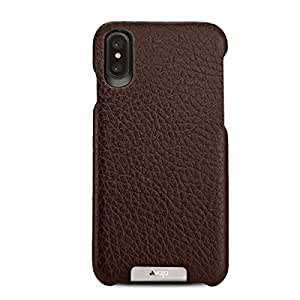 Vaja Grip Leather Case for iPhone X - Hard Polycarbonate Frame, Wireless Charging Compatible - Floater Dark Brown