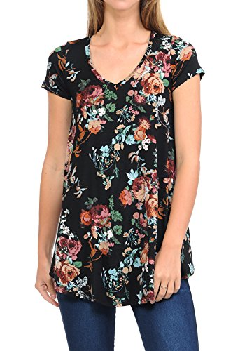 Loose Fabric (Shamaim Womens Flattering Comfy Short Sleeve Tunic Loose Fit Printed Fabric Top Print #13)