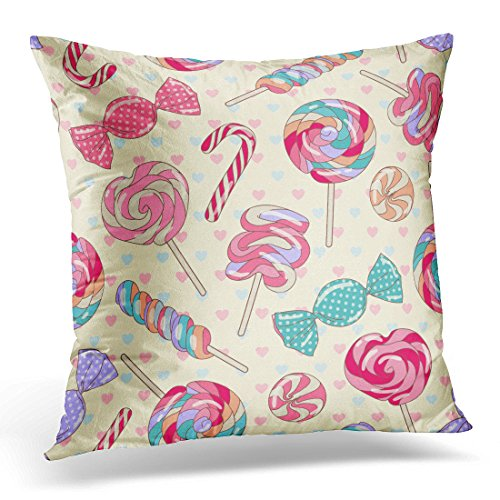 Sdamas Decorative Pillow Cover Pink Party Yummy Colorful Sweet Lollipop Candy Cane with Hearts Yellow Red Christmas Throw Pillow Case Square Home Decor Pillowcase 16x16 Inches -