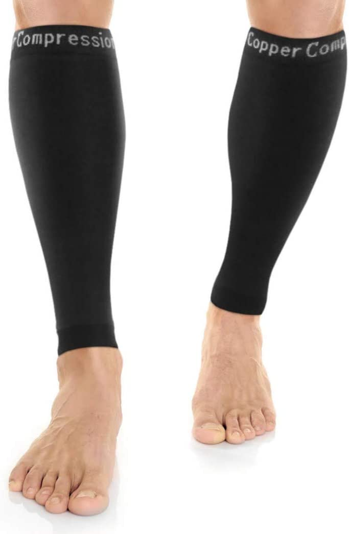Amazon.com: Copper Compression Recovery Calf Sleeves - Shin Splint Leg  Sleeves. Guaranteed Highest Copper Content + Graduated Compression. Great  For Running + Sports. Support Sore Muscles + Joints. (1 PAIR): Health &  Personal Care