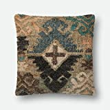 Loloi P0554 Jute, Wool and Cotton Pillow Cover with Down Fill