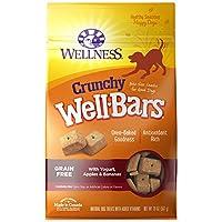 Wellness Wellbars Truchas de perro crujientes sin trigo, yogurt, manzanas y plátanos, caja de 20 onzas
