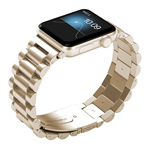 PUGO TOP Replacement Apple Watch Band 44mm 42mm for Women Men, Solid Stainless Steel Metal Replacement Classic iWatch Wristband Strap for Apple Watch Series 4/3/2/1, 42/44mm Gold