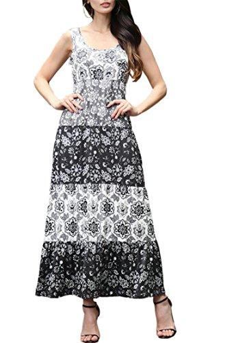 Neck Scoop Jaycargogo Print Summer Floral Casual Sleeveless Dresses Women Beach Black qXPgwXY