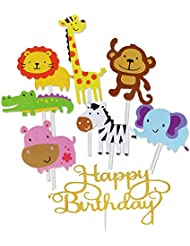 Jatidne 30 Pack Zoo Animal Cupcake Toppers Safari/Jungle Themed Cake Topper for Birthday Baby Shower Party Decoration