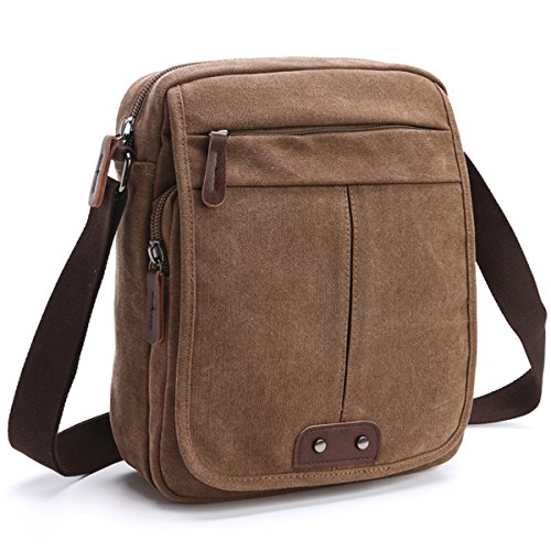 Canvas Leather Messenger bags~ Fashion Shoulder Bag ~Lightweight Crossbody Bag~Satchel handbag Bag~Multi pocket Book bag ~Functional Multi Pocket Laptop Bag~Safty Working Bag~ (MG-8842-BROWN) (Working Girl Bag)