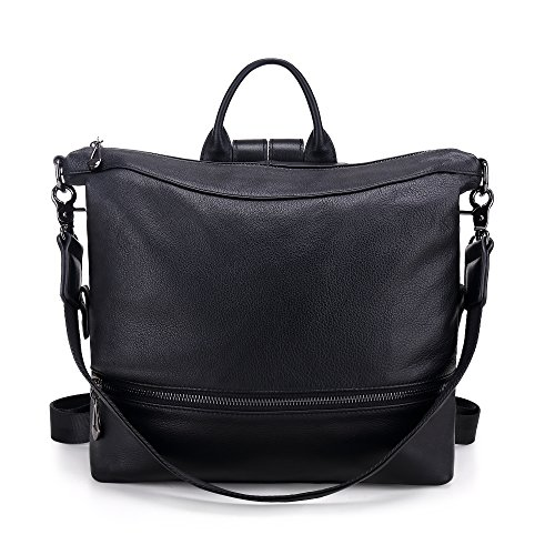 Convertible Leather Backpack For Women Black Travel Versatile Shoulder Bags (BLACK)