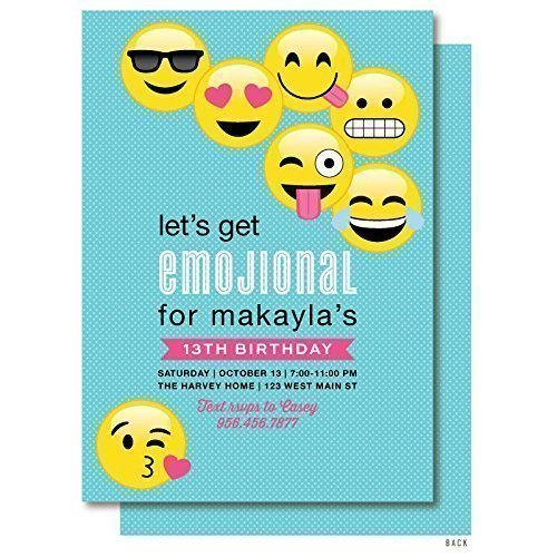 Image Unavailable Not Available For Color Emoji Birthday Invitation