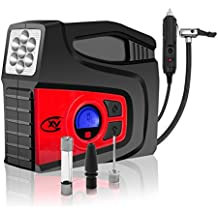 CXY Digital Tire Inflator ,Portable Air Compressor Pump,Valve Adaptors,12V DC Digital Auto Tire Inflator with LED Lighting and 2 Air Nozzles for Car Vehicle, Motocycle,Bicycle, Airbed and Balls...