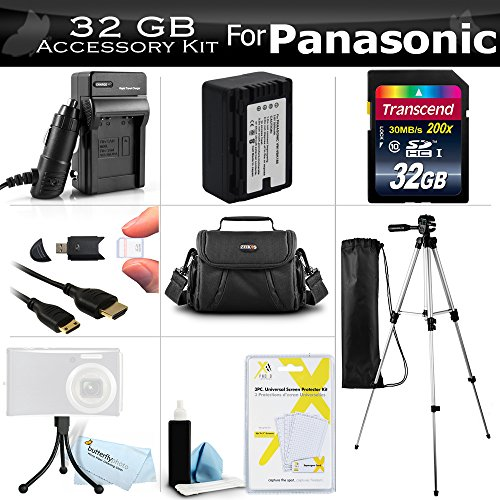 32GB Accessory Kit For Panasonic HC-V700, HC-V700M, HC-V500, HC-V500M, HC-V100, HC-V100M, HC-V10 Camcorder Includes 32GB High Speed SD Memory Card + Replacement (2000Mah) VW-VBK180 Battery + Ac/Dc Charger + Deluxe Case + 50 Tripod + Mini HDMI Cable +More by ButterflyPhoto